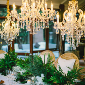 Crystal Chandelier Trio Reception Decor