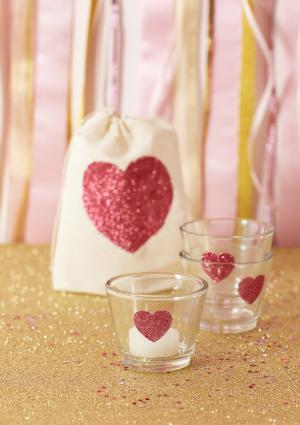 DIY Glitter Heart Votives