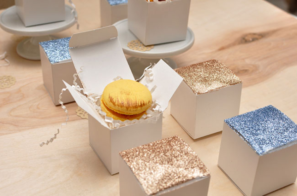 DIY Glitter Topped Favor Boxes