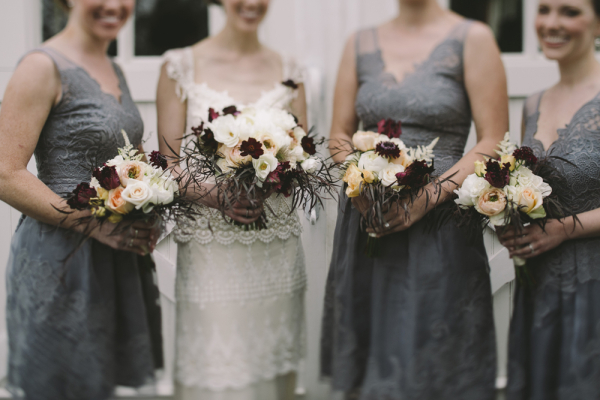 Embroidered Gray Bridesmaids Dresses