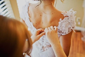 Embroidered Lace Back on Wedding Gown