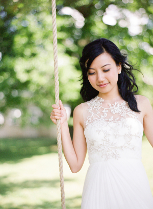 Embroidered Sheer Overlay on Wedding Gown
