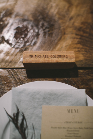 Etched Wood Wedding Place Cards