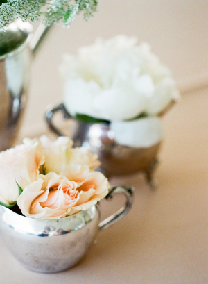Flowers in Silver Cups Reception Decor