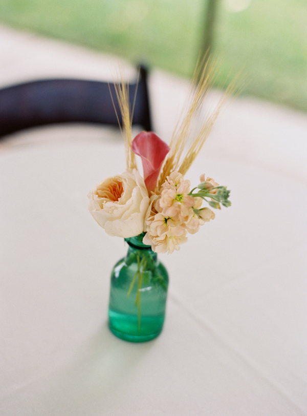 Flowers In Turquoise Glass Bud Vase Elizabeth Anne Designs The