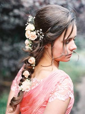 Fresh Flowers in Braided Hair