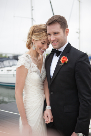 Gathered Lace and Beading Bridal Gown