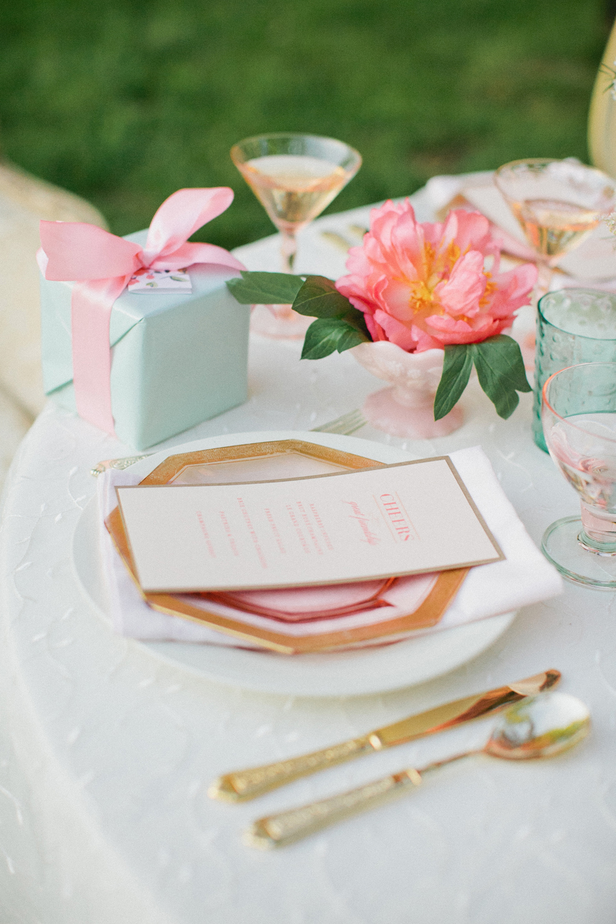 Gold Pink and Blue Bridal Party Table Decor - Elizabeth Anne Designs ...