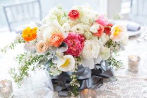 Gorgeous Ivory and Pink Centerpiece