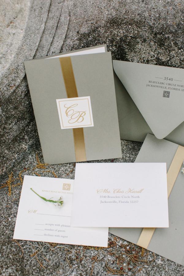 Gray and Gold Wedding Invitations - Elizabeth Anne Designs: The ...