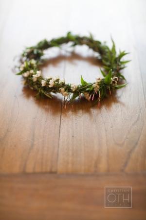 Greenery and Rosebud Hair Wreath