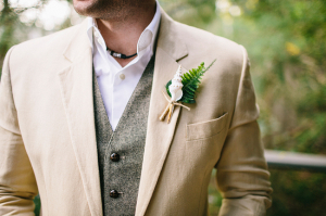 Groom Tan Suit Gray Vest
