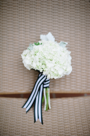 Hydrangea Bouquet With Striped Ribbon