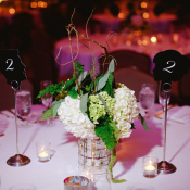 Hydrangea and Curly Willow Reception Arrangement