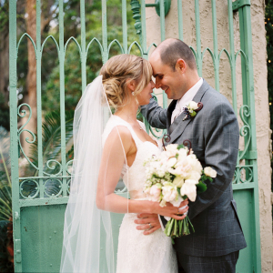 Lace Bridal Gown and Cathedral Length Veil