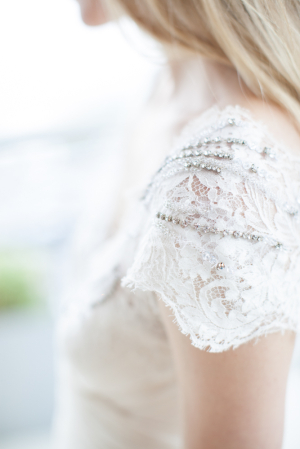Lace and Rhinestone Sleeve on Wedding Gown