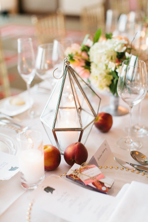 Lantern and Peach Centerpiece