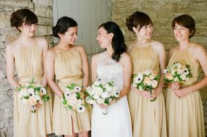 Light Gold Halter Style Bridesmaids Dresses