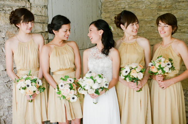 Light Gold Halter Style Bridesmaids Dresses