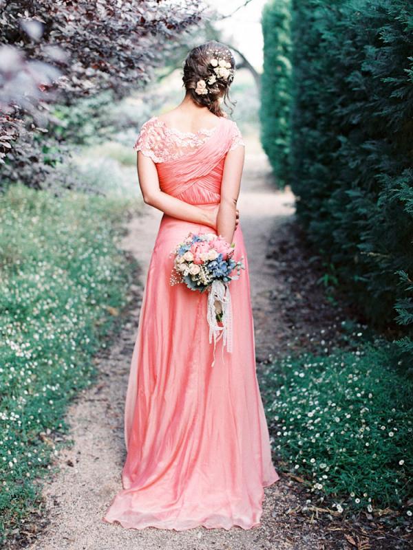 Long Peach Bridesmaids Dress