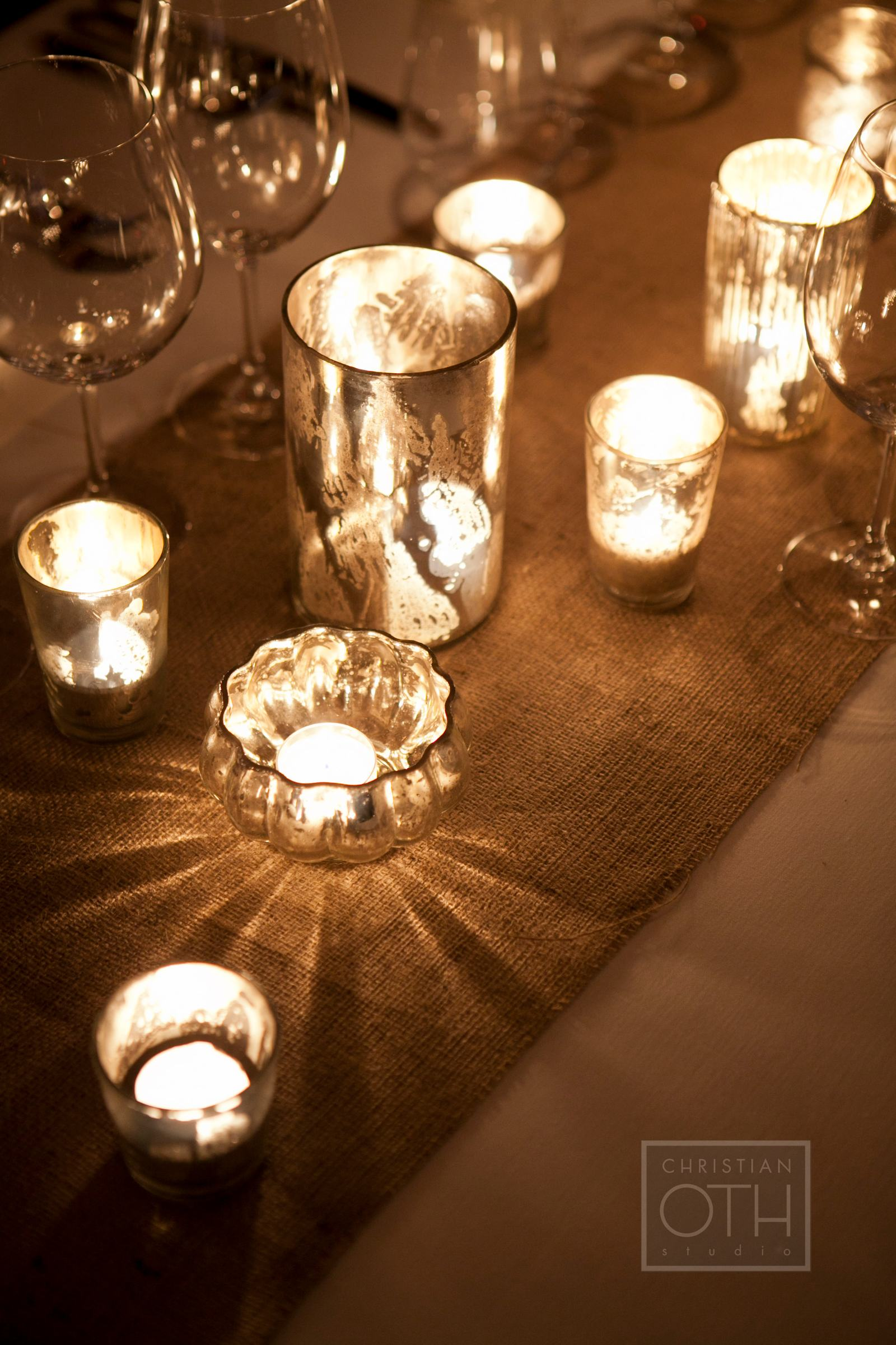 Mercury glass votives reception decor elizabeth anne