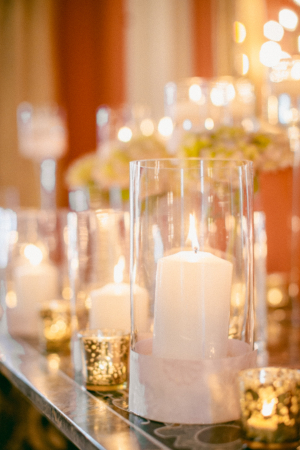 Mercury Glass and Candles Wedding Decor
