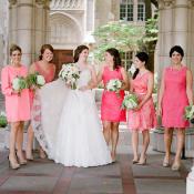 Mismatched Hot Pink Bridesmaids