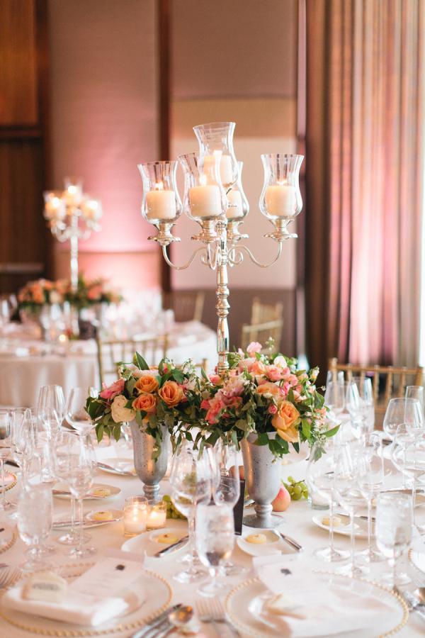 Peach pink candelabra centerpieces elizabeth anne