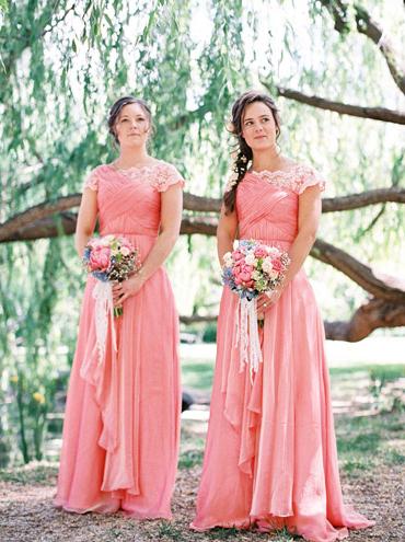 peach and lace bridesmaids dresses elizabeth anne