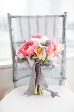Peony Rose and Dusty Miller Bridal Bouquet