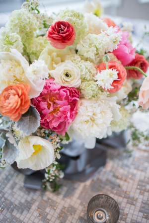 Pink Coral and Cream Floral Centerpiece