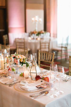 Pink Peach and Gold Reception Decor