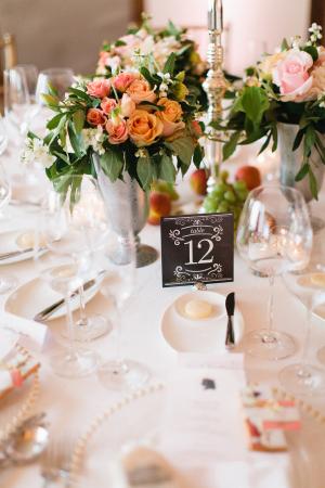 Pink Rose Arrangements Reception Decor