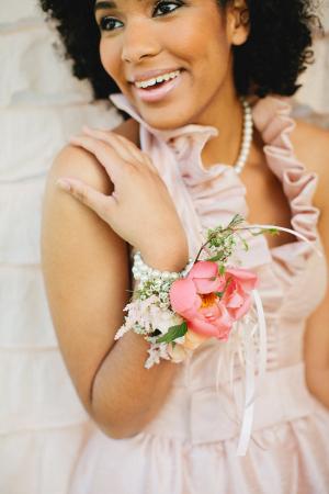 Pink Ruffle Bridesmaids Dress