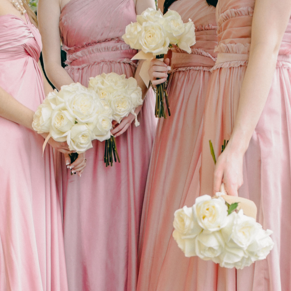Pink Silk Bridesmaids Dresses