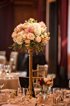 Pink and Blush Floral Topiary Reception Decor