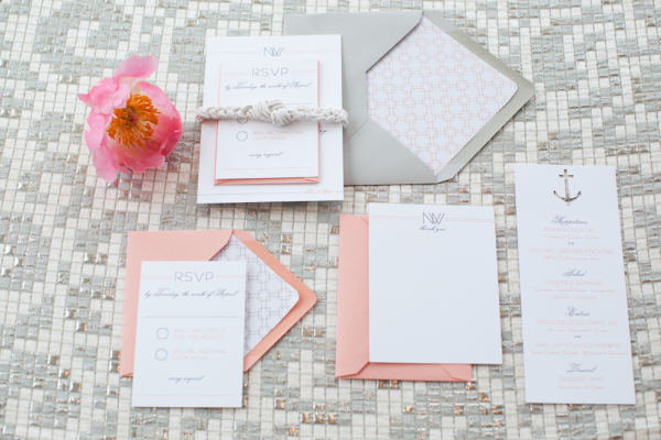 Pink and Gray Nautical Motif Wedding Stationery