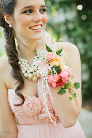 Pink and Yellow Wrist Corsage