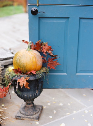 Pumpkin and Fall Leaves in Urn