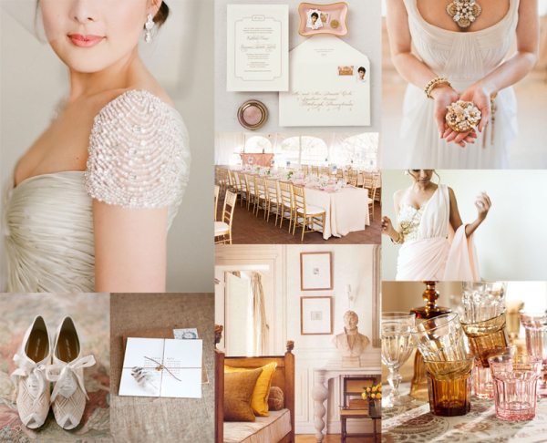Rose Gold and Amber Wedding Colors