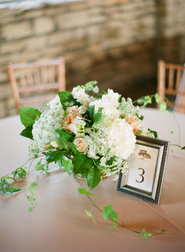 Rose hydrangea and greenery reception centerpiece