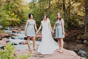 Short Gray Blue Bridesmaids Dresses