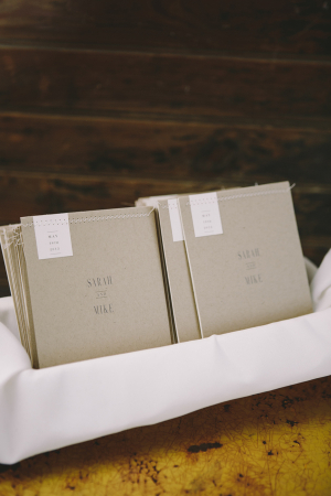 Stitched Linen Colored Wedding Programs