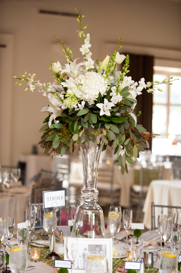 Tall Cream And Green Reception Centerpiece