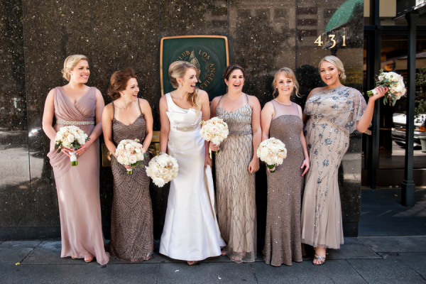 Taupe Sequin Bridesmaids Dresses