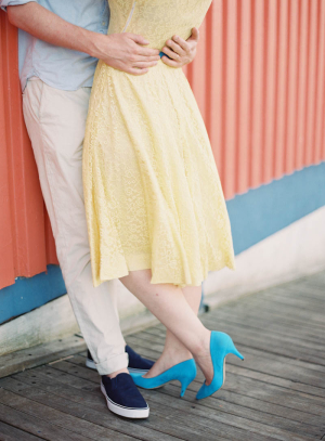 Turquoise Suede Heels With Yellow Dress