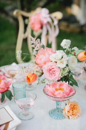 Vintage Blue Glass and Pink Floral Tea Party Decor