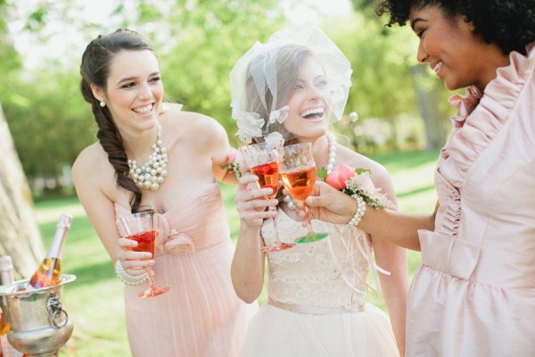 Vintage Inspired Tea Party Pink Champagne Toast