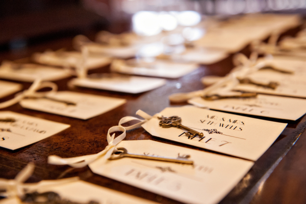 Vintage Key Reception Place Cards