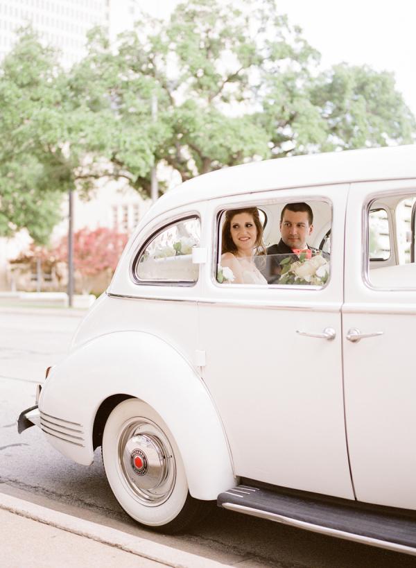 Vintage White Car at Wedding